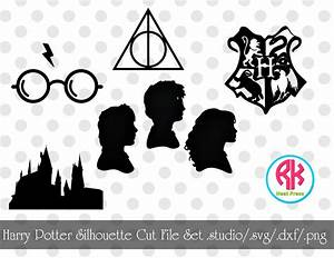 Harry Potter Silhouette Cut File Set png, dxf, svg from