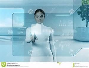 Future Technology. Girl Press Button Touchscreen Interface ...