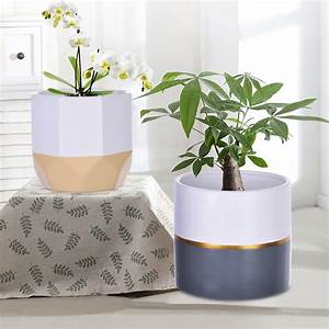 2pc, White, Ceramic, Flower, Pot, Garden, Planters, Indoor, Plant, Containers, -, Walmart, Com