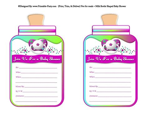girl printable bottle baby shower invitations milk