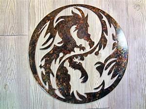 Yin yang dragon metal wall art new home decor sculpture