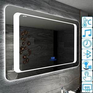 miroir lumineux led design anti buee avec bluetooth music With miroir salle de bain bluetooth 120