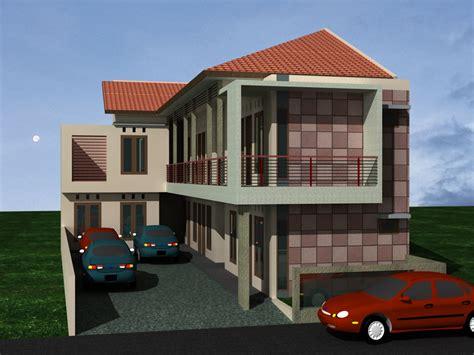 desain rumah kost  lahan sempit tampak depan homestaybontangcom