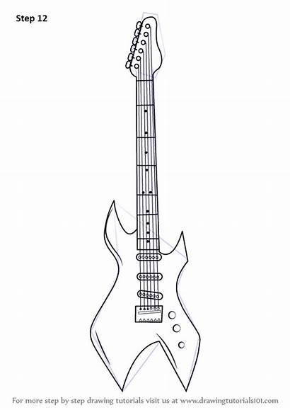 Guitar Draw Electric Pages Drawing Step Coloring