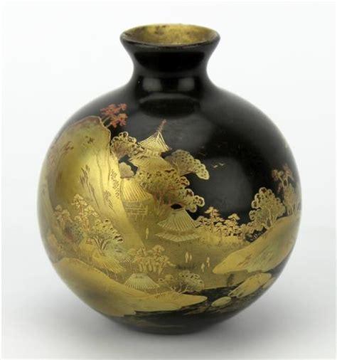 Black Bud Vases by Japanese Black Lacquer Gilt Bud Vase