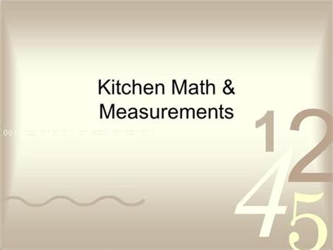 Kitchen Math Measurements by Strecker Facs Educator 169 2002 Learning Zone