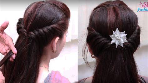 easy hair style  long hair ladies hair style