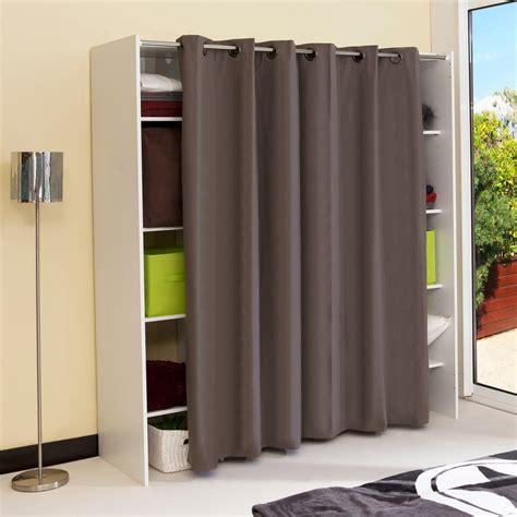 rideaux pour placard de chambre dressing extensible 8 niches 1 penderie en bois l112