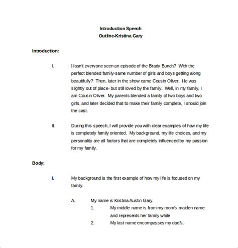 Tspeech Test Template by 10 Speech Outline Templates Sle Templates
