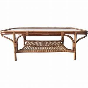 Table Basse Rotin : table basse rectangulaire en rotin et verre 1960 design market ~ Teatrodelosmanantiales.com Idées de Décoration