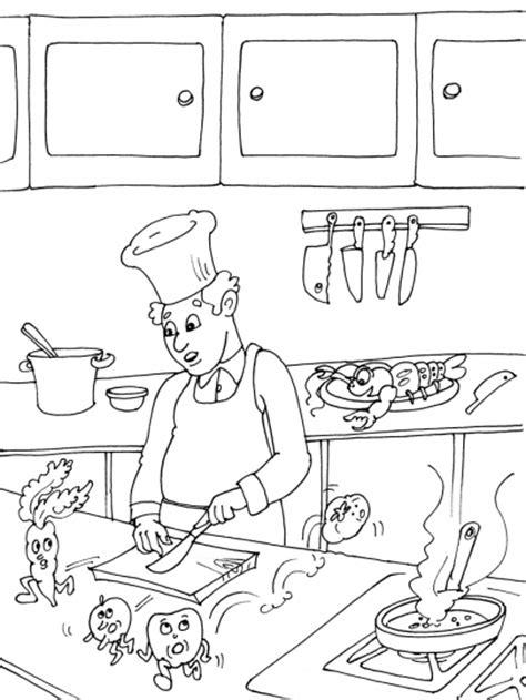 dessin d une cuisine coloriage cuisinier dans une cuisine à imprimer