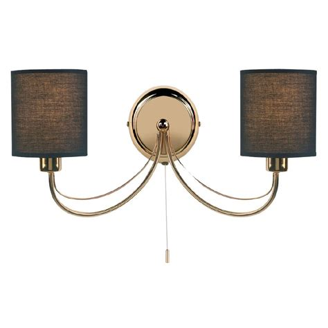 96292 wbgo figaro double wall light gold with black shades