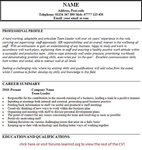 Customer Care Team Leader Resume by Team Leader Cv Exle Forums Learnist Org
