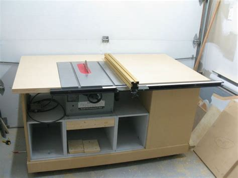 make a table saw table build table saw cabinet plans woodproject