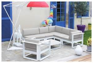 Salon De Jardin Bas Aluminium Blanc by Salon D Ext 233 Rieur 6 Places En Thermolaqu 233 Blanc Jardin