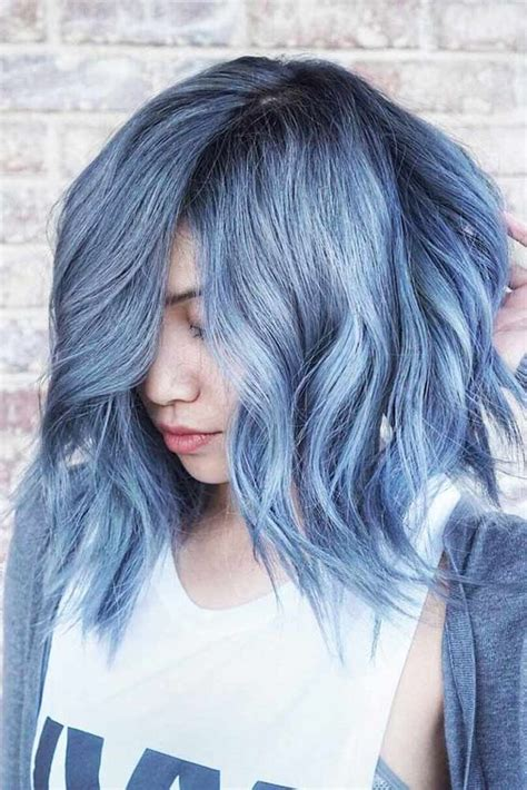 Light Blue Hair Color Short Hairstyles Curly Wavy