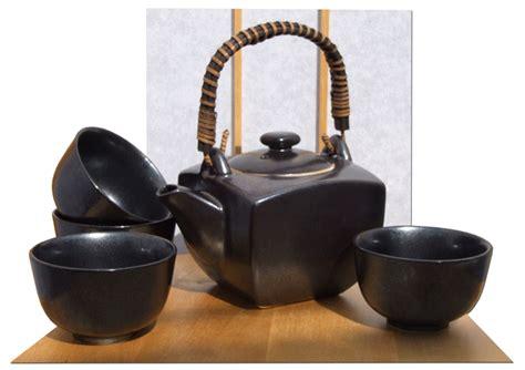 contemporary japanese tea set  metallic black   cups