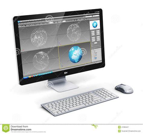 ordinateur de bureau professionnel poste de travail professionnel d ordinateur de bureau illustration stock image 47085457