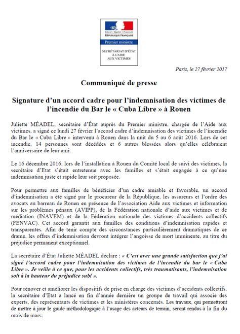 signature d un accord cadre pour l indemnisation des victimes de l incendie du bar le 171 cuba