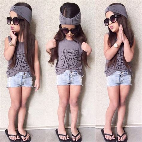 Aliexpress.com  Buy Trendy Kids Baby Girl Outfits Headband+Top T shirt+Jeans Pants Clothes Set ...