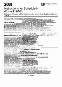Instructions For Schedule H  Form 1120-f