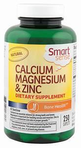 Smart Sense Calcium Magnesium  U0026 Zinc Dietary Supplement 250 Ct