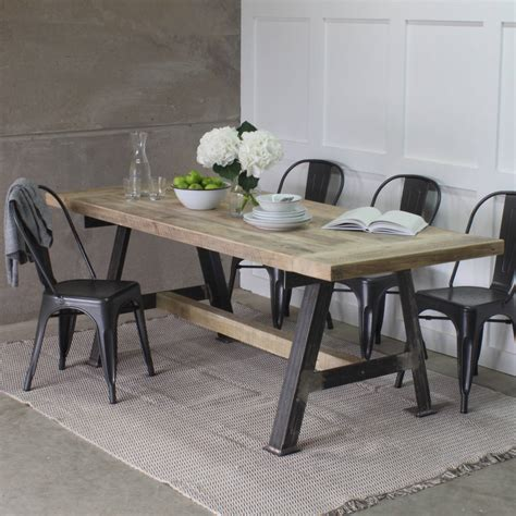 game reclaimed wood dining table  steel  frame