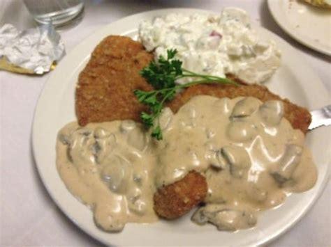 Pork Schnitzel With Mushroom Cream Sauce And Potato Salad