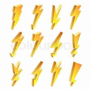3d Lightning Icons Vector Set  Cartoon