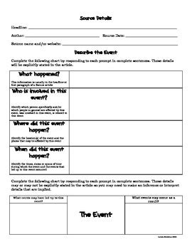 Current Events Analysis Worksheet By Michelle Brewer Tpt
