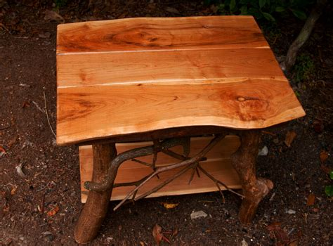 Rustic Handmade Cherry Wood End Table Log Cabin Adirondack