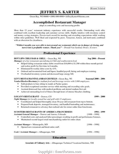 Restaurant Manager Resume Template by Top Restaurant Bar Manager Resume Sle Restaurant