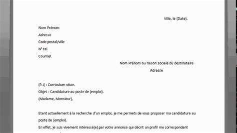 Comment Ecrire Un Cv De Travail by Comment R 201 Diger Une Lettre De Motivation Pour Emploi