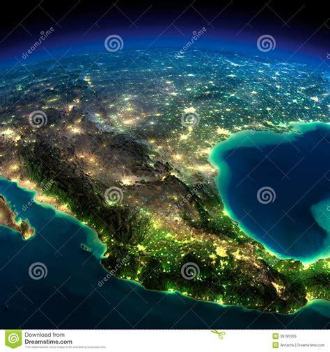 Night Earth A Piece Of North America Mexico Stock