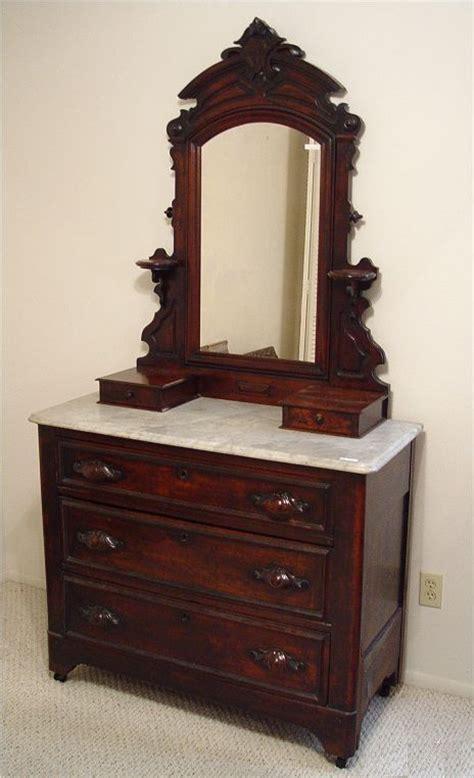 Victorian Dressers With Mirrors Walnut Marble Top Dresser