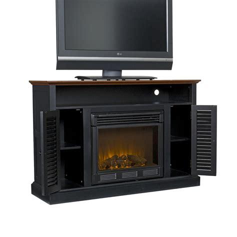 Black Fireplace - sei antebellum media console with electric
