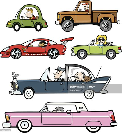cartoon traffic cars  trucks high res vector graphic