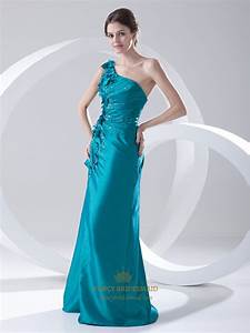 Teal Taffeta One Shoulder Pleated Beading Prom Dress With ...