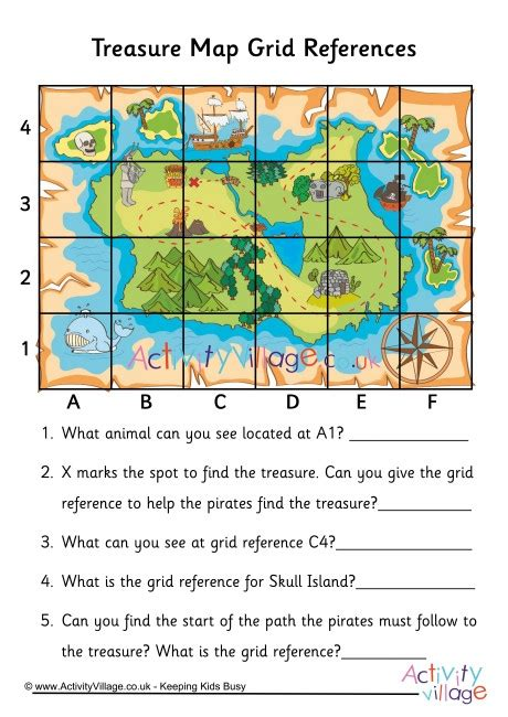 treasure map grid reference worksheet