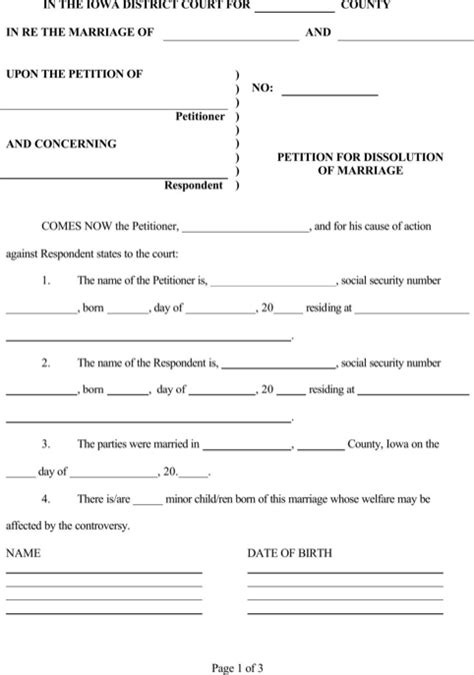 iowa divorce papers for free formtemplate