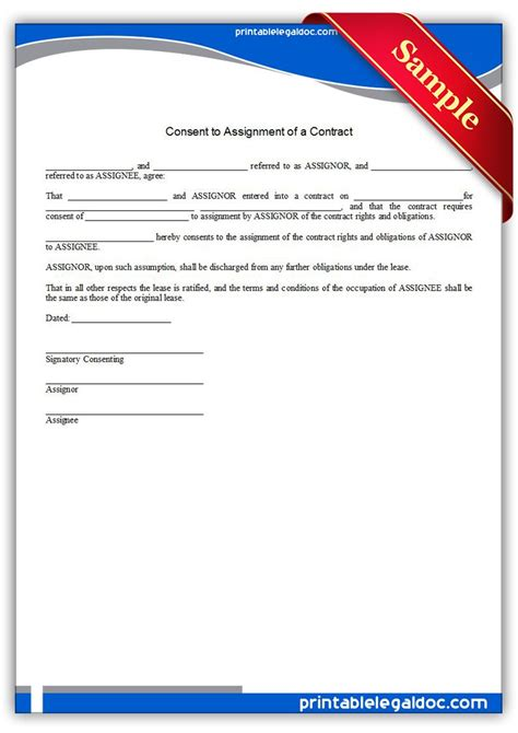 printable consent  assignment   contract form