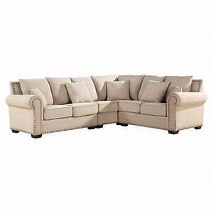 Linen sectional sofa with nailhead trim dream home for Sectional sofas with nailhead trim