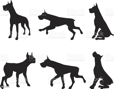 Almost files can be used for commercial. Great Dane Silhouette Collection Stock Illustration ...