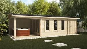 Gartenhaus 3 X 3 M : gartenhaus mit veranda und schuppen super eva e 18 m2 9 x 3 m 44 mm hansagarten24 ~ Whattoseeinmadrid.com Haus und Dekorationen