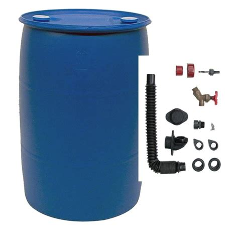 earthminded  gal blue plastic drum diy rain barrel