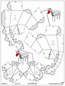 Unicorn  Papercraft Template  Instant Download