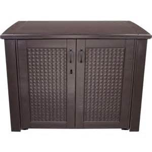 rubbermaid 123 gal chic basket weave patio storage deck box in brown 1889849 the home depot