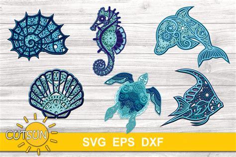 Get the free layered svg file below. 3D Layered Mandala Sea Creatures SVG Bundle (565298)   Cut ...