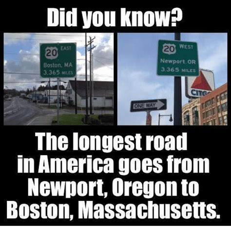 Massachusetts Meme - did you know west newport or boston ma 3365 miles 3365 miles the longest road in america goes