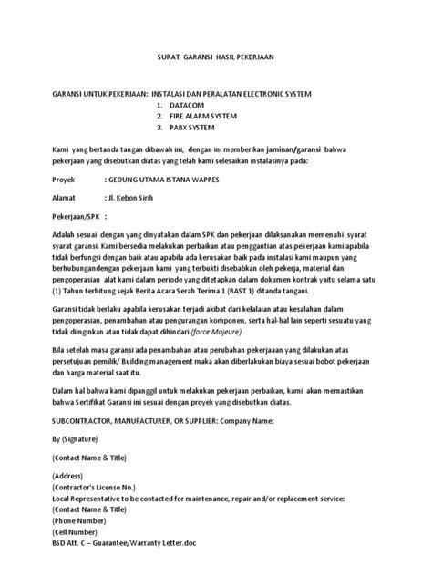 surat garansi hasil pekerjaan docx